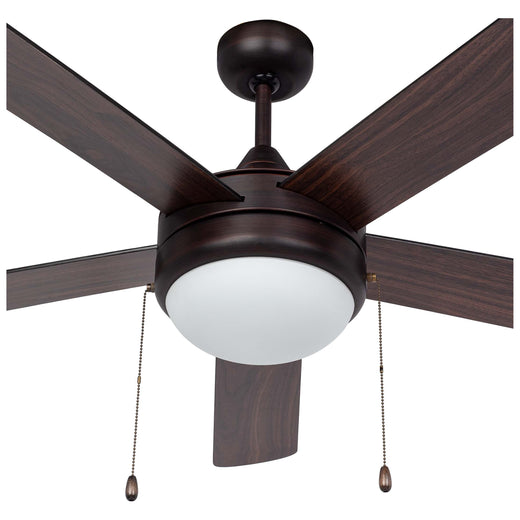 Image Of Contemporary / Modern Ceiling Fan With LED Light Kit -  52 In. Dia. -  5 Blades Black / Dark Walnut - Venetian Bronze Finish - Harney Hardware
