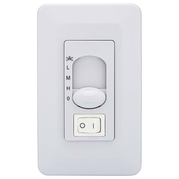 Image Of Ceiling Fan Wall Control Switch -  On / Off -  Light Dimmer And Fan Speed Control - White Finish - Harney Hardware