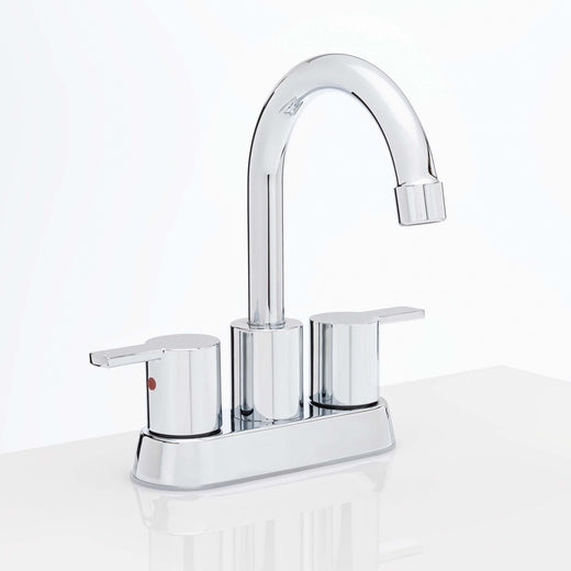 Image Of Center Set Contemporary / Modern Bathroom Sink Faucet -  4 In. Wide -  Boca Grande - Chrome Finish - Harney Hardware
