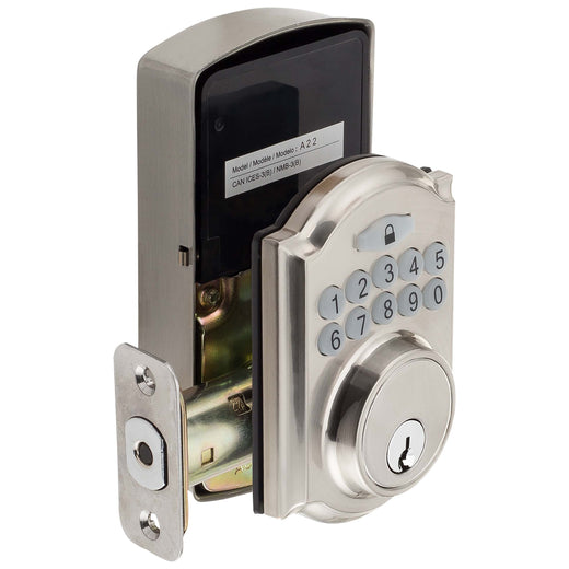 Image Of Electronic Keyless Deadbolt -  Arch Top Escutcheon - Satin Nickel Finish - Harney Hardware
