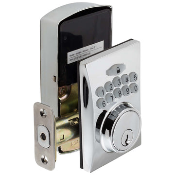 Image Of Electronic Keyless Deadbolt -  Square Escutcheon - Chrome Finish - Harney Hardware