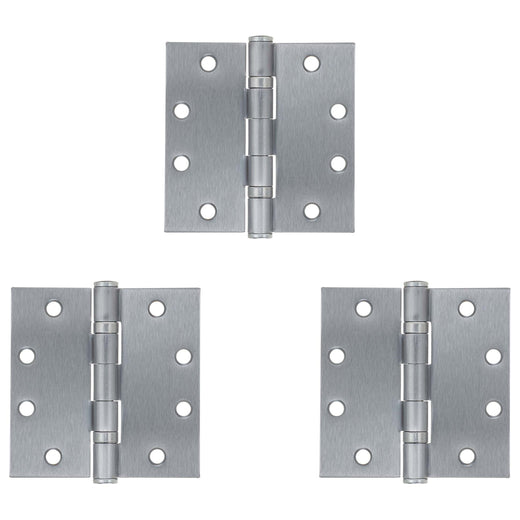 Image Of Commercial Door Hinges -  Ball Bearing -  4 1/2 In. X 4 1/2 In. -  3 Pack - Satin Chrome Finish - Harney Hardware