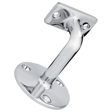 Image Of Handrail Bracket -  Solid Brass - Chrome Finish - Harney Hardware