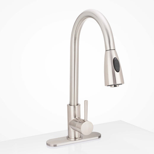 Image Of Kitchen Faucet Installation Deckplate -  Radius Ends -  Stainless Steel -  10 1/4 In. Wide - Satin Stainless Steel Finish - Harney Hardware