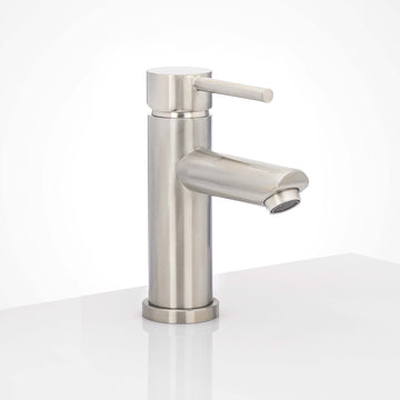 Image Of Single Hole Contemporary / Modern Bathroom Sink Faucet -  7 In. High - Satin Stainless Steel Finish - Harney Hardware