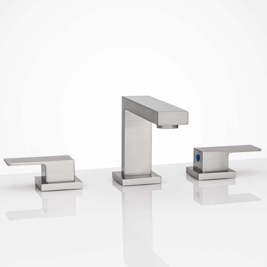Image Of Wide Spread Contemporary / Modern Bathroom Sink Faucet -  8 In. Wide - Satin Nickel Finish - Harney Hardware