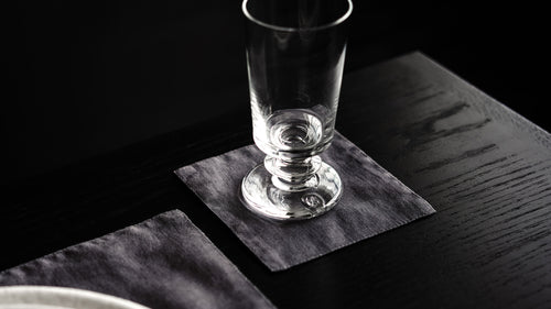 RW GUILD FLAX LINEN COCKTAIL NAPKIN, DARK GREY