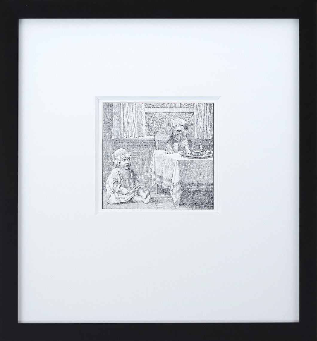 Jenny at the Table by Maurice Sendak Vintage Print Framed in Black - Special Edition, by 2020ArtSolutions