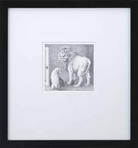 Jenny and Lion by Maurice Sendak Vintage Print Framed in Black - Special Edition, by 2020ArtSolutions
