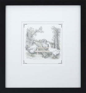 Owl on Fence by Maurice Sendak Vintage Print Framed in Black - Special Edition, by 2020ArtSolutions