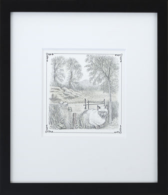 Cat by Lake by Maurice Sendak Vintage Print Framed in Black - Special Edition, by 2020ArtSolutions