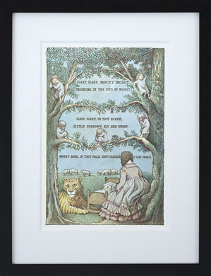 Sleep, Sleep, Beauty Bright by Maurice Sendak Vintage Print Framed in Black - Special Edition, by 2020ArtSolutions