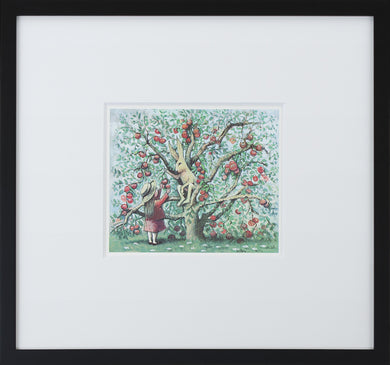 Apple Tree by Maurice Sendak Vintage Print Framed in Black - Special Edition, by 2020ArtSolutions