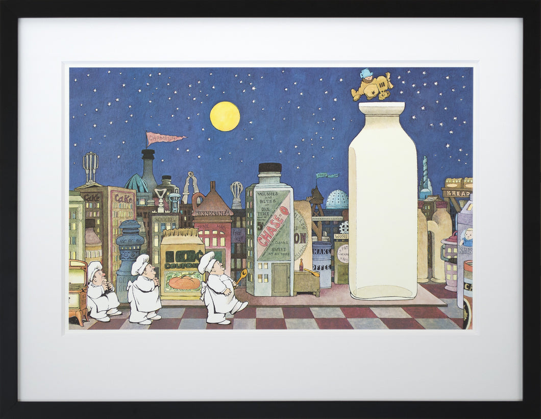 Cityscape by Maurice Sendak Vintage Print Framed in Black - Special Edition, by 2020ArtSolutions