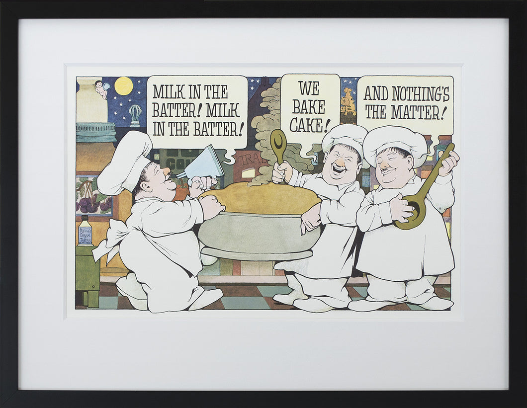 Milk in the Batter by Maurice Sendak Vintage Print Framed in Black - Special Edition, by 2020ArtSolutions