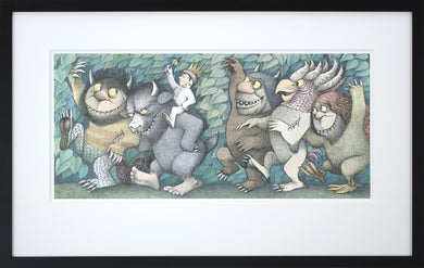 Max with Crown and Scepter by Maurice Sendak Vintage Print Framed in Black - Special Edition, by 2020ArtSolutions