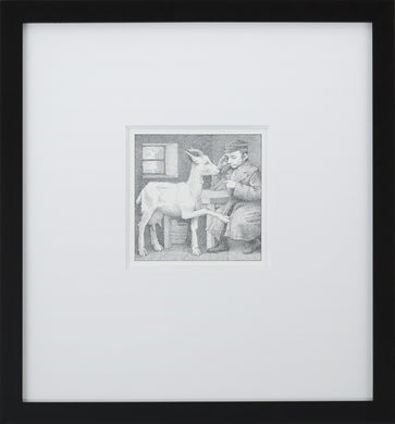 Zlateh & Scholar by Maurice Sendak Vintage Print Framed in Black - Special Edition, by 2020ArtSolutions