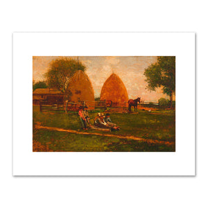 Winslow Homer, Haystacks and Children, 1874, Fine Art Prints in 4 sizes by 2020ArtSolutions