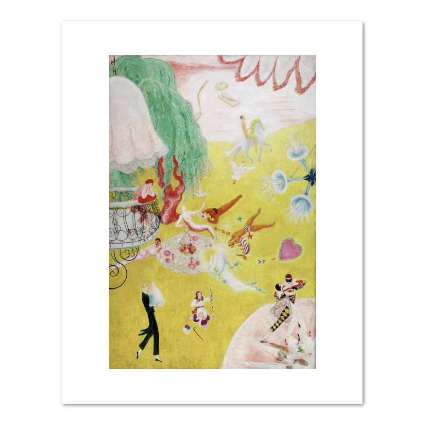 Florine Stettheimer, Love Flight of a Pink Candy Heart, art prints in various sizes by 2020ArtSolutions