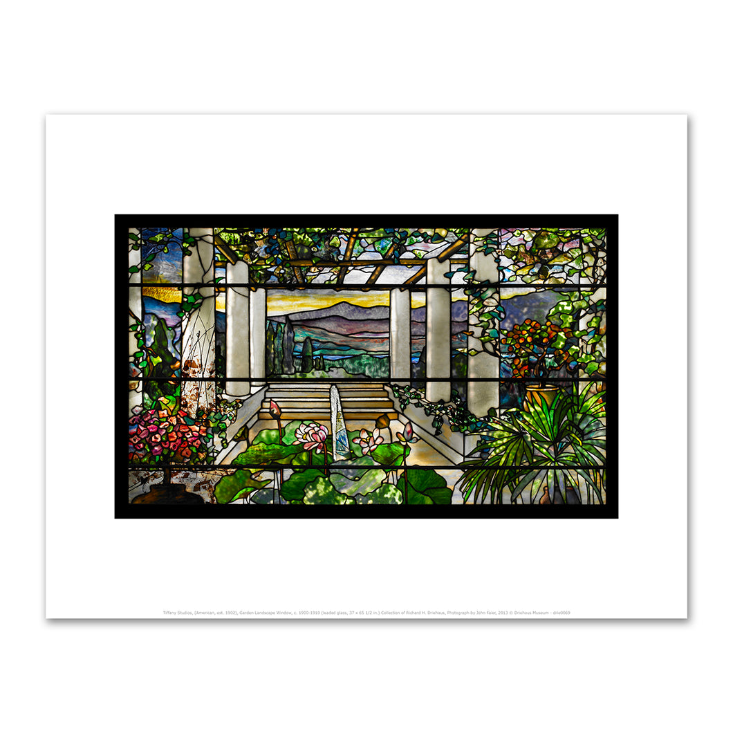 Tiffany Studios, (American, est. 1902), Garden Landscape Window, c. 1900-1910, Art prints in various sizes by 2020ArtSolutions