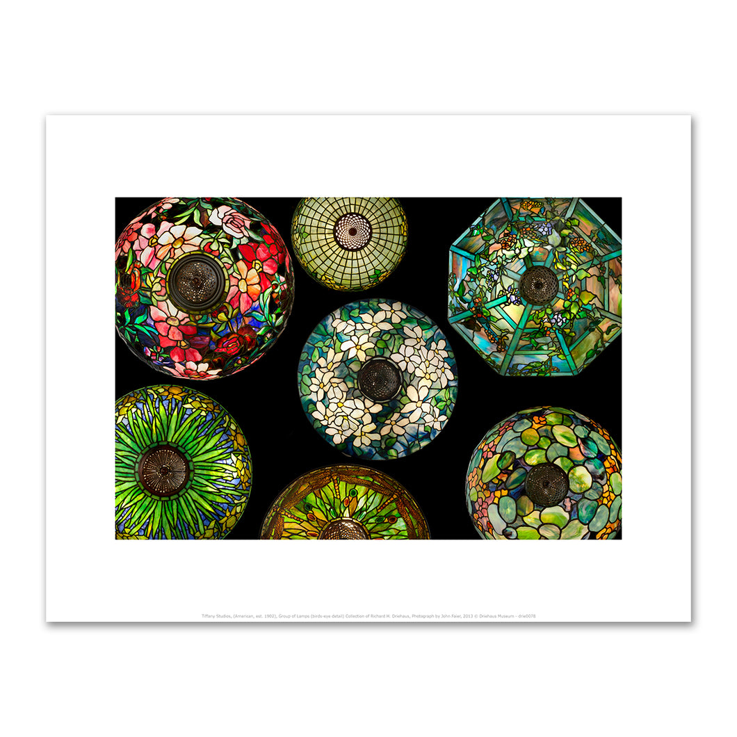 Tiffany Studios, (American, est. 1902), Group of Lamps (birds-eye detail), Art prints in various sizes by 2020ArtSolutions