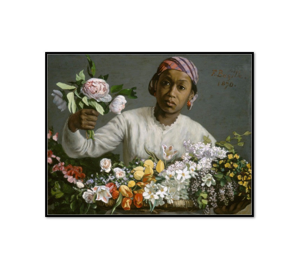 Young Woman with Peonies by Frédéric Bazille Artblock