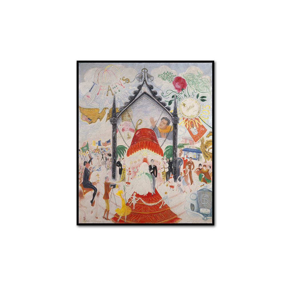 Florine Stettheimer, The Cathedrals of Fifth Avenue, artblock with black frame by 2020ArtSolutions