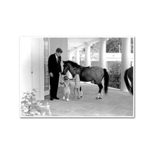 President Kennedy Visits with his Children, John F. Kennedy Jr. and Caroline Kennedy, and Pony Macaroni, White House, West Wing Colonnade