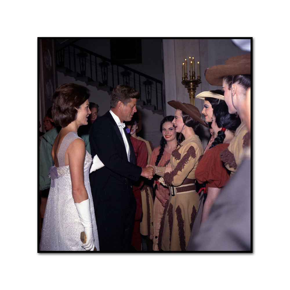 President John F. Kennedy and the First Lady Jacqueline Kennedy Greet Cast Members from a Production of Billy the Kid