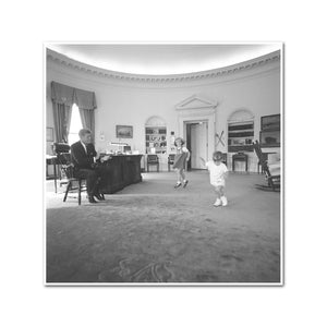 President John F. Kennedy with his Children in the Oval Office
