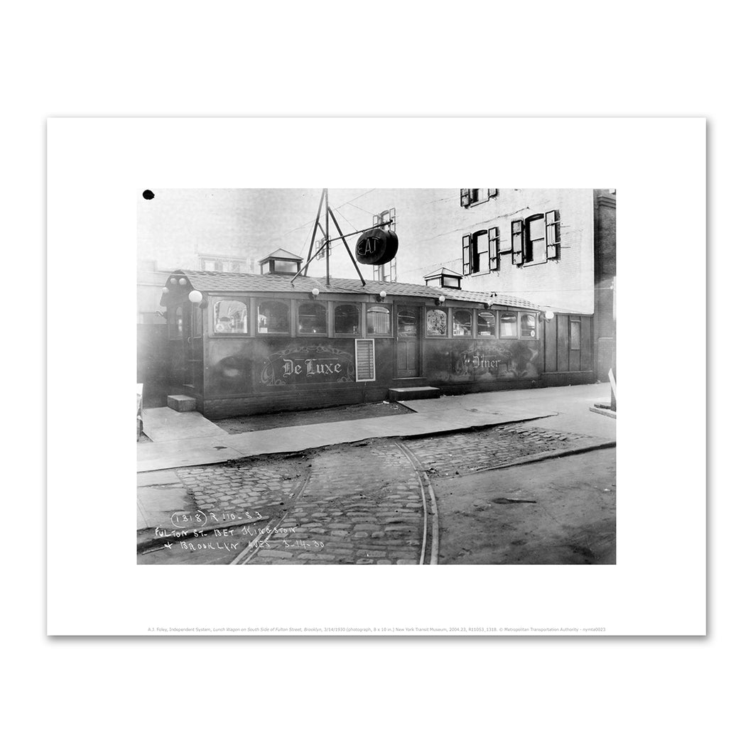 A.J. Foley, Independent System, Lunch Wagon on South Side of Fulton Street, Brooklyn, 3/14/1930, Art Prints in 4 sizes by 2020ArtSolutions