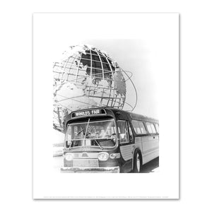 Unknown, New York City Transit Authority, Bus #3910 in Front of World's Fair Unisphere, ca. 1964, Art Prints in 4 sizes by 2020ArtSolutions