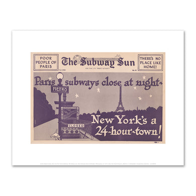 Amelia Opdyke Jones, New York City Transit Authority, The Subway Sun, Paris Subways Close at Midnight, 1956, Art Prints in 4 sizes by 2020ArtSolutions