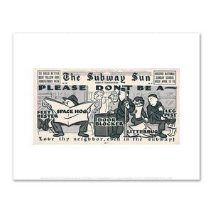 Amelia Opdyke Jones, New York City Transit Authority, The Subway Sun, Love Thy Neighbor Even in the Subway, 1953, Art Prints in 4 sizes by 2020ArtSolutions
