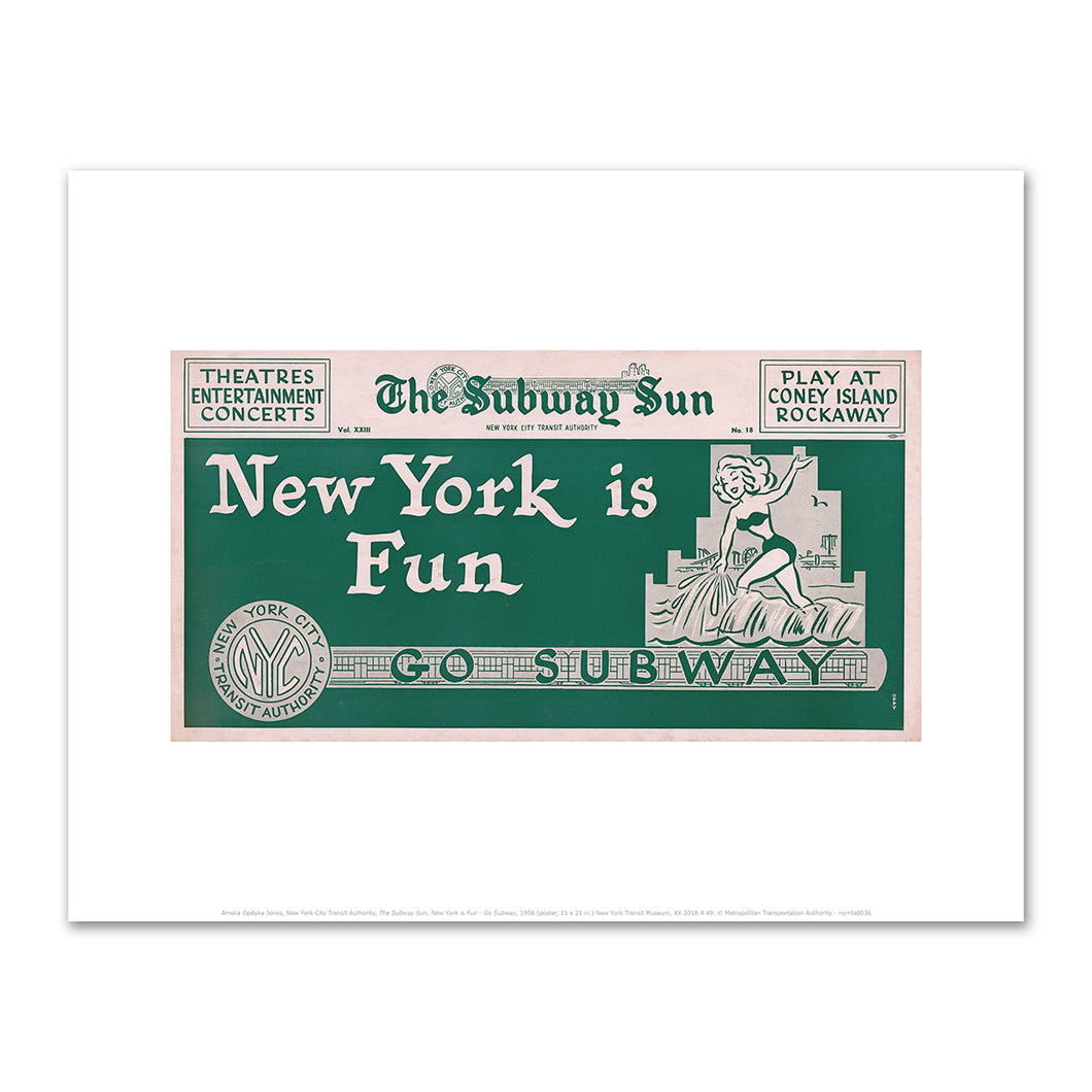 Amelia Opdyke Jones, New York City Transit Authority, The Subway Sun, New York is Fun - Go Subway, 1956, Art Prints in 4 sizes by 2020ArtSolutions