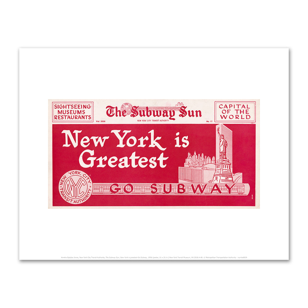 Amelia Opdyke Jones, New York City Transit Authority, The Subway Sun, New York is greatest-Go Subway, 1956, Art Prints in 4 sizes by 2020ArtSolutions
