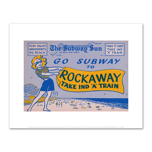 "Amelia Opdyke Jones, New York City Transit Authority, The Subway Sun, Subway to Rockaway - Take IND ""A"" Train, 1957, Art Prints in 4 sizes by 2020ArtSolutions"