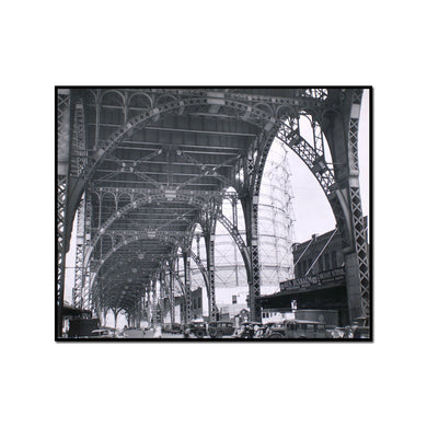 Under Riverside Drive Viaduct, 125th Street at 12th Avenue, Manhattan by Berenice Abbott Artblock