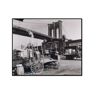Brooklyn Bridge, Pier 21, Pennsylvania Railroad, Manhattan by Berenice Abbott Artblock