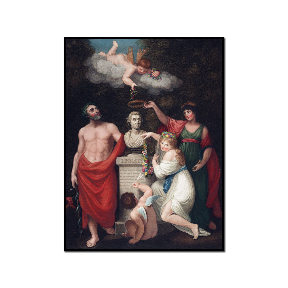 Robert John Thornton / Asculapius, Flora, Ceres and Cupid honouring the Bust of Linnaeus, Framed Art Print