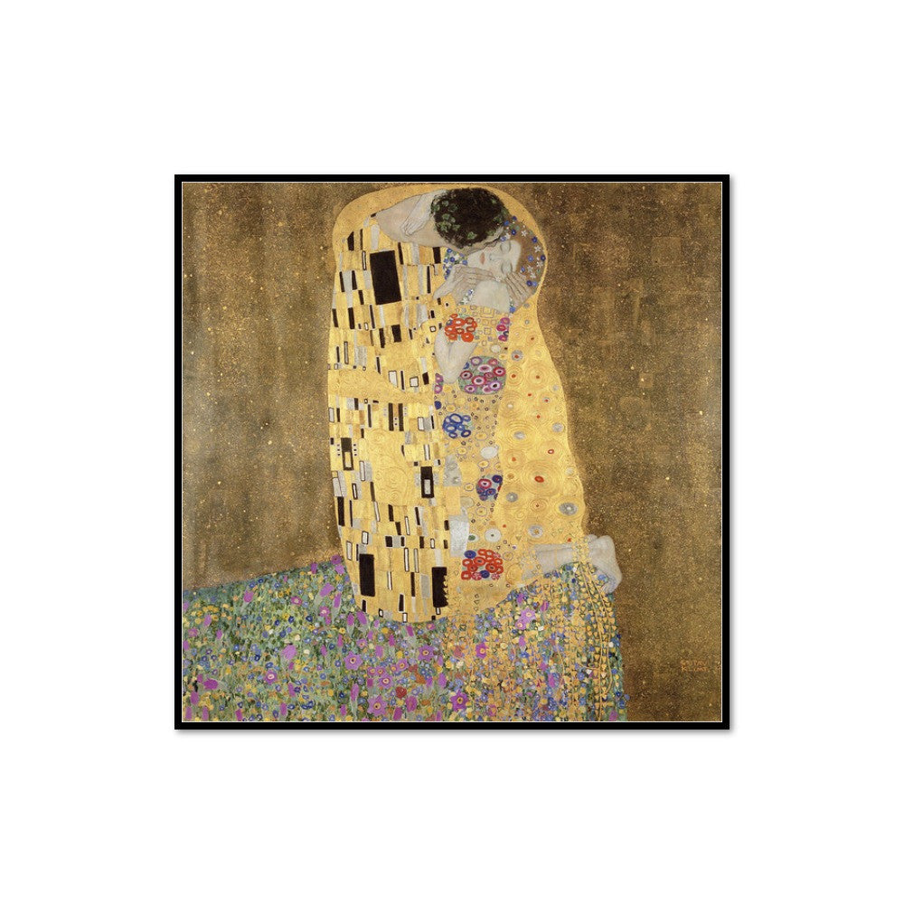 Gustav Klimt, The Kiss, 1907-1908, Framed Art Print with black frame in 3 sizes by 2020ArtSolutions