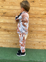 Kids Camo tracksuit in lightweight fabric. Black stripe on sleeve 2 pocket jacket. Lightweight fabric jogger