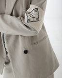 Beige double breasted blazer fully lined with Cenmar banded badge