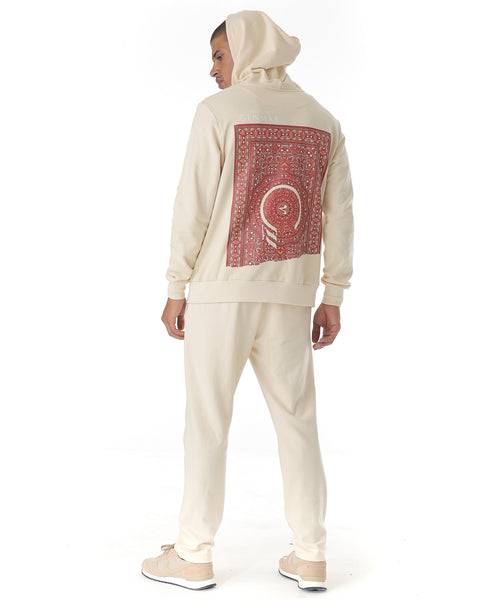 White hoodie with printed Arabic carpet style infusing East & West