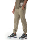 Khaki tracksuit bottoms with Cenmar branding