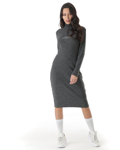 Knit bodycon dress with zip detailing