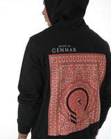 Black hoodie with printed arabic carpet style infusing East & West