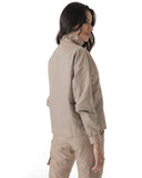 cargo style jacket with side and back pocket detailing lightweight fabric