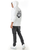 White fleece hoodie with embroidered wolf.