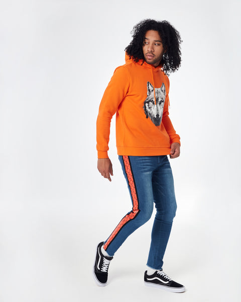 Orange hoodie with cenmar wolf